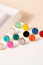 Druzy Stone Stud Earrings - 6