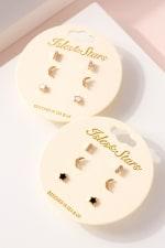 Star Moon Bar Earrings Set - 3