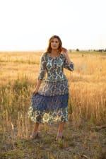 Veronica Green/Blue Tile Print Peasant Dress - 5