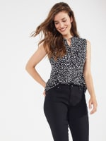 Sleeveless Painted Dots Pintuck Popover - 4