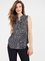 Sleeveless Painted Dots Pintuck Popover - 8