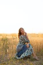 Veronica Green/Blue Tile Print Peasant Dress - 8