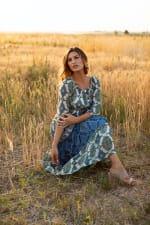Veronica Green/Blue Tile Print Peasant Dress - 4
