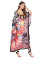 Floral Pattern Kaftan Dress - Plus - 4