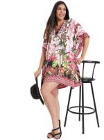 Mini Pink Floral Pattern Tunic Kaftan Dress - Plus - 6