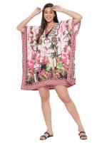 Mini Pink Floral Pattern Tunic Kaftan Dress - Plus - 4