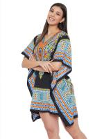 Mini Black Short Sleeve Tunic Kaftan Dress - Plus - 3