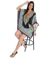 Mini Black Short Sleeve Tunic Kaftan Dress - Plus - 6