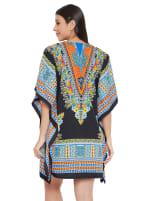 Mini Black Short Sleeve Tunic Kaftan Dress - Plus - 2