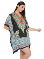 Mini Black Short Sleeve Tunic Kaftan Dress - Plus - 4
