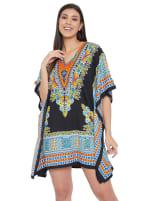 Mini Black Short Sleeve Tunic Kaftan Dress - Plus - 5