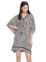 Mini Beige Short Sleeve Tunic Kaftan Dress - Plus - 5
