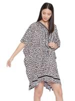 Mini Beige Short Sleeve Tunic Kaftan Dress - Plus - 3