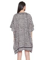 Mini Beige Short Sleeve Tunic Kaftan Dress - Plus - 2