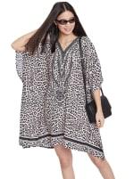Mini Beige Short Sleeve Tunic Kaftan Dress - Plus - 6