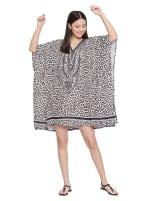 Mini Beige Short Sleeve Tunic Kaftan Dress - Plus - 1