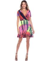 Tie Dye Print V-Neck Wrap Dress - 16