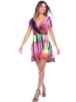 Tie Dye Print V-Neck Wrap Dress - 12