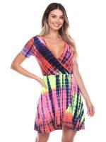 Tie Dye Print V-Neck Wrap Dress - 15