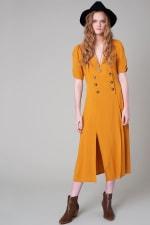 Vintage Front Slit Button Down Midi Dress - 1