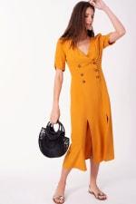 Vintage Front Slit Button Down Midi Dress - 5