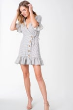 Plaid Woven Wrap with Ruffle Accent Dress - 5