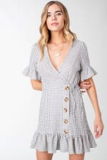 Plaid Woven Wrap with Ruffle Accent Dress - 1