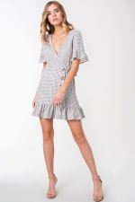 Plaid Woven Wrap with Ruffle Accent Dress - 4