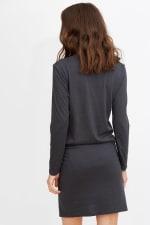 Tie Front Long Sleeve Tee Dress - 13