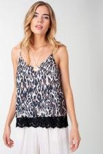 Leopard Print Satin Cami with Lace Trim Top - 1