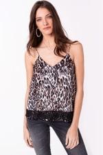Leopard Print Satin Cami with Lace Trim Top - 4