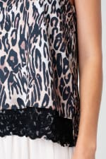 Leopard Print Satin Cami with Lace Trim Top - 3