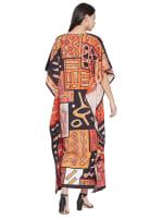 Loose V- Neck Gown Kaftan - Plus - 2