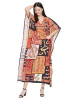 Loose V- Neck Gown Kaftan - Plus - 7