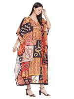 Loose V- Neck Gown Kaftan - Plus - 4