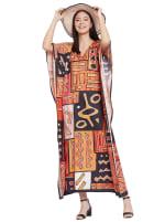Loose V- Neck Gown Kaftan - Plus - 6