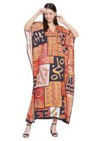 Loose V- Neck Gown Kaftan - Plus - 1