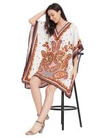 Paisley Pattern V-Neck Tunic Dress - Plus - 7