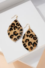 Animal Print Calf Hair Leather Feather Earrings - 1