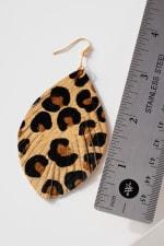 Animal Print Calf Hair Leather Feather Earrings - 3