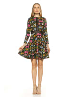 Alexa Lace Trim Floral Print Dress - 1