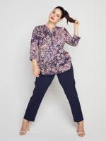 Roz & Ali Floral Vine Pintuck Popover - Plus - 7