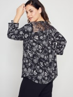 Roz & Ali Floral Mesh Yoke Popover - Plus - 7