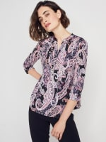 Roz & Ali Floral Paisley Pintuck Popover - 3