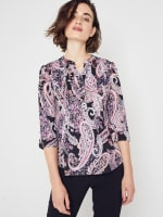 Roz & Ali Floral Paisley Pintuck Popover - 5