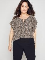 Roz & Ali Chain Trim Flutter Sleeve Blouse - Plus - 1