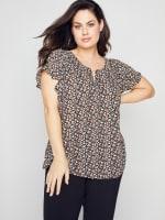 Roz & Ali Chain Trim Flutter Sleeve Blouse - Plus - 4