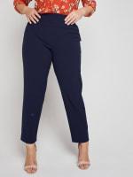 Roz & Ali Secret Agent Slim Leg Wide Waistband Pants - Plus - 40