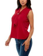 Adrienne Vittadini Sleeveless Draped Scarf V-Neck Top - 9