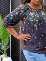 """Westport """"On And Off The Shoulder"""" Border Print Top - Plus - 3"""